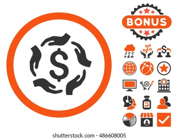 Dollar Care Hands icon with bonus pictures. Vector illustration style is flat iconic bicolor symbols, orange and gray colors, white background.