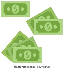 Dollar cash Icon in flat style isolated on grey background.