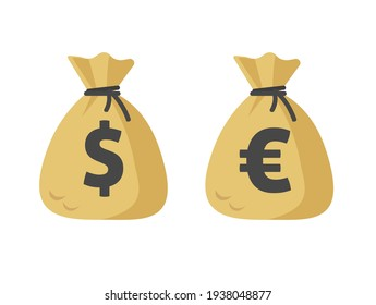 Dollar cash sack and euro money bag icon vector flat cartoon isolated on white sign