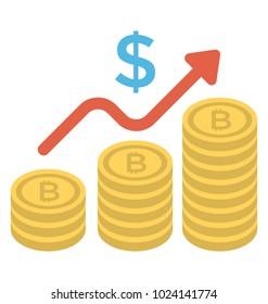 Dollar chart analysis flat icon, money growth concept