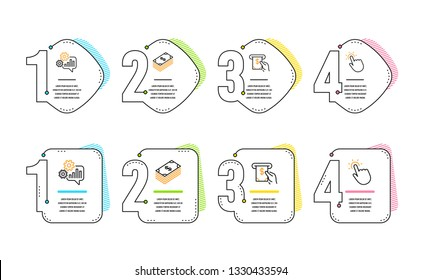 Dollar, Cogwheel and Atm service icons simple set. Touchpoint sign. Usd currency, Engineering tool, Cash investment. Touch technology. Business set. Infographic timeline. Line dollar icon. Vector