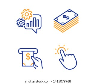 Dollar, Cogwheel and Atm service icons simple set. Touchpoint sign. Usd currency, Engineering tool, Cash investment. Touch technology. Business set. Linear dollar icon. Colorful design set. Vector