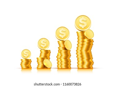 Dollar coin with a bunch of coins on a white background. Vector illustration