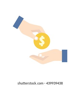 dollar coin handover. Giving and taking money. Flat icon