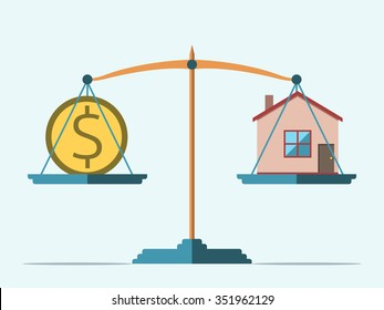 Dollar coin and house on scales. Real estate, rental, expense, liabilities and mortgage concept. EPS 8 vector illustration, no transparency