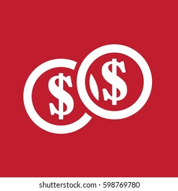 Dollar coin icon on red background
