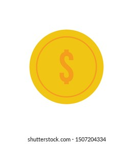 dollar coin minimal icon. money illustration