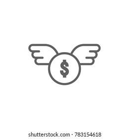 Dollar coin with wing icon vector