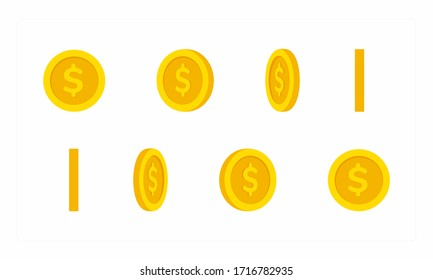 Dollar coins set turn around, animation for video games, cartoon or animation, motion design and apps. flat vector illustration.
