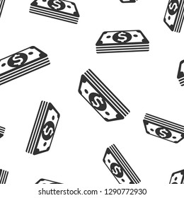 Dollar currency banknote icon seamless pattern background. Dollar cash vector illustration. Banknote bill symbol pattern.