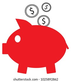 Dollar currency icon or logo vector on coins entering a piggy bank. Symbol for United States of America bank, banking or American finances