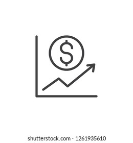 Dollar currency Increase Graph outline icon. linear style sign for mobile concept and web design. Rising and falling dollar graph simple line vector icon. Symbol, logo illustration. Pixel perfect