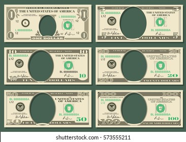 Dollar currency notes vector money. Templates of dollar notes with space for presidents, illustration american dollars