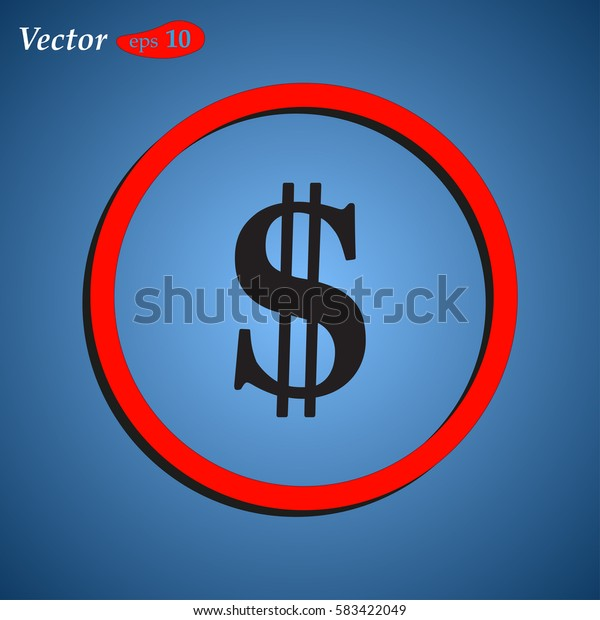 Dollar Currency Signs. Web design style.