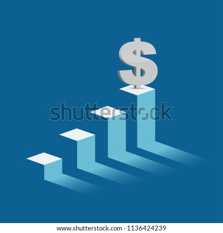 dollar currency symbol on mountain peak. business graph concept. illustration design graphic over blue background