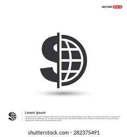 Dollar currency symbol with world globe icon - abstract logo type icon - isometric white background. Vector illustration