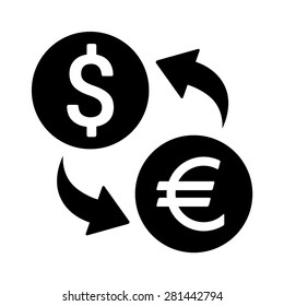 Dollar to euro foreign currency exchange flat vector icon for apps and websites