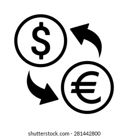 Dollar to euro foreign currency exchange line art vector icon for finance apps and websites