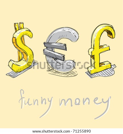 Dollar Euro Pound Cartoon Currency Symbols Stock Vector Royalty
