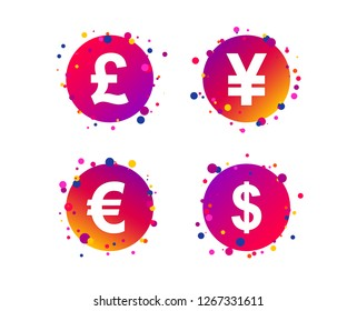 Dollar, Euro, Pound and Yen currency icons. USD, EUR, GBP and JPY money sign symbols. Gradient circle buttons with icons. Random dots design. Vector