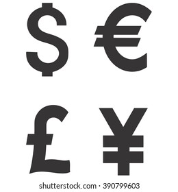 Dollar, Euro, Pound and Yen currency icons. USD, EUR, GBP and JPY money sign symbols. Usa, Great Britain, Japanese, Europe, vector.