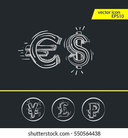 Dollar, Euro, Pound and Yen currency icons. USD, EUR, GBP and JPY money sign symbols. Icons in circles.