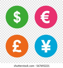 Dollar, Euro, Pound and Yen currency icons. USD, EUR, GBP and JPY money sign symbols. Round buttons on transparent background. Vector