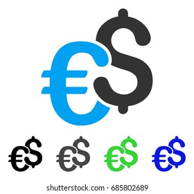 Dollar And Euro Symbols flat vector pictograph. Colored dollar and euro symbols gray, black, blue, green icon versions. Flat icon style for web design.
