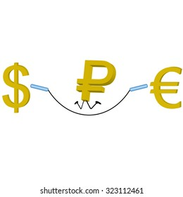 dollar and the euro under which the twist rope jumping ruble vector illustration