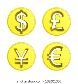 dollar euro yen and pound coin vector pack illustration