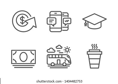 Dollar exchange, Bus travel and Cash money icons simple set. Smartphone sms, Graduation cap and Takeaway signs. Money refund, Transport. Business set. Line dollar exchange icon. Editable stroke