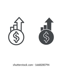 Dollar exchange increase line and solid icon. Coin with currency rate growth arrows symbol, outline style pictogram on white background. Money sign for mobile concept and web design. Vector graphics