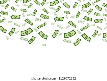 Dollar falling from above isolated on white background. Vector illustration.