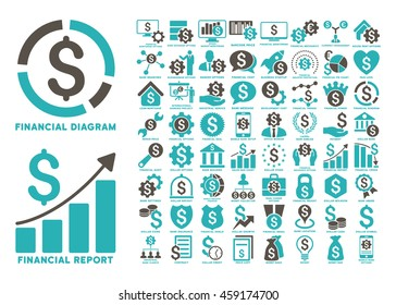 Dollar Finances Flat Vector Design Elements. Style is named bicolor grey and cyan flat icons isolated on a white background.