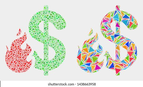 Dollar fire collage icon of triangle items which have variable sizes and shapes and colors. Geometric abstract vector design concept of dollar fire.