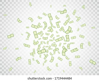 Dollar flying on transparent background. Banknotes icon explosion. Money in a flat style. Cartoon cash sign. Currency collection. Dollar bills. Paper bank notes. Jackpot, big win. Vector illustration.