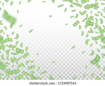 Dollar frame. Banknotes falling on transparent background. Dollars icon explosion. Money in a flat style. Cash sign. Currency collection. Paper bank notes. Jackpot, big win. Vector illustration.