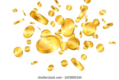 Dollar gold coins explosion isolated on white background. Vector illustration.