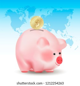 Dollar golden coin falling into money pig bank. Conceptual realistic vector illustration on blue background with world map.