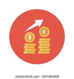dollar growth glyph flat vector icon