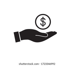 Dollar in hand icon. Save money icon. Vector illustration.
