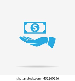 Dollar and hand icon. Vector concept illustration for design.