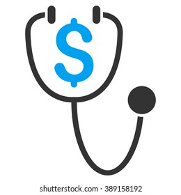 Dollar Health vector icon. Style is bicolor flat symbol, blue and gray colors, white background.