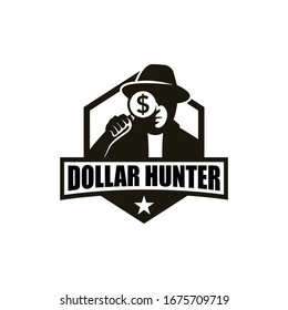 Dollar hunter logo concept. Detective holding a magnifying glass.