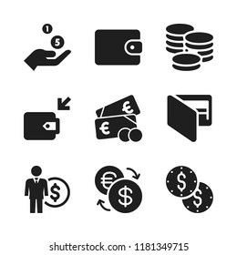 dollar icon. 9 dollar vector icons set. coins, wallet and cash icons for web and design about dollar theme