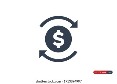 Dollar Icon with Recycle Arrow isolated on white background. Flat Vector Icon Design Template Element.