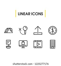 Dollar icon with sandwich, upload, locate symbols. Set of metropolis, arrow, video icons and metropolis concept. Editable vector elements for logo app UI design.