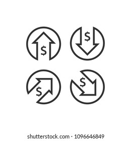dollar increase decrease icon. Money symbol with arrow stretching rising up and drop fall down. Business cost sale and reduction icon. vector illustration.