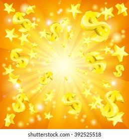 Dollar jackpot money and stars background