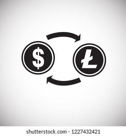 Dollar to lite coin conversion on white background icon